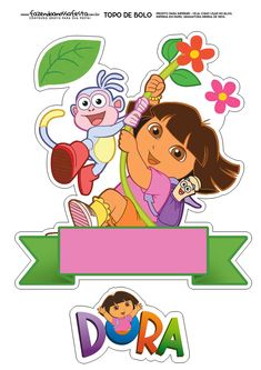 Dora Dora Cake, Printable Birthday Banner, Dora And Friends, Friend Cartoon, Cake Templates, Fish Crafts, Character Cakes, Cute Clipart, Birthday Numbers
