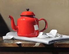 Elizabeth Zanzinger - Still life Still Life 2, Still Life Images, Still Life Drawing, Still Life Oil Painting, Oil Painting On Canvas, Be Still, Watercolor Paintings, Red Teapot, Oil Painting For Beginners
