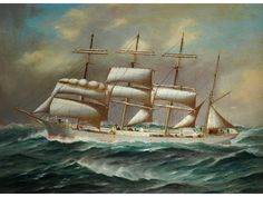 """""""The barque 'Lawhill' sailing under reduced sail in a turbulent sea"""". Built by the famous firm of W.B. Thompson, this near-3,000 ton steel barque was launched in 1892 and enjoyed a long career as one of the last great windjammers able to compete against the onset of steam. In 1942 she was confiscated by the South African government and thereafter traded from East London. She was finally sold for breaking in 1959."""