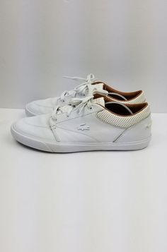 60c9a321f82345 Lacoste Bayliss Vulc PRM Sneakers - Men s Size 8.5 White Brown  Lacoste   Sneakers