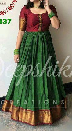 Dress Silk Saree 65 Ideas Source by latiss dress Long Gown Dress, Sari Dress, Frock Dress, Saree Gown, Lehenga, Half Saree Designs, Dress Neck Designs, Saree Blouse Neck Designs, Chudi Neck Designs