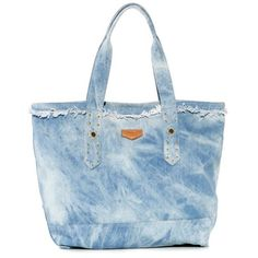 Aimee Kestenberg Tie Dye Denim Cannes Large Carryall Tote ($98) ❤ liked on Polyvore featuring bags, handbags, tote bags, tie dye denim, carryall tote, denim handbags, blue purse, fringe purse and denim purse