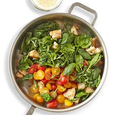 Yes, a gluten-free Italian dinner is possible! This basil-loaded chicken recipe won't have anyone dreaming about pasta or pizza. Take out cheese for Loaded Chicken Recipe, Chicken And Veggie Recipes, Chicken Skillet Recipes, Chicken And Vegetables, Vegetable Recipes, Veggies, Cooking Recipes, Healthy Recipes, Bread Recipes