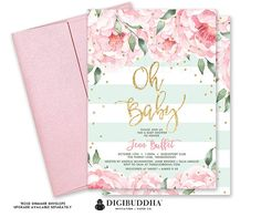Floral Baby Shower Invitation Gender Neutral Florals and Stripes Printable Oh Baby Shower Invite DIY Printed Baby Shower Invitation - Jenn Engagement Party Invitations, Pink Invitations, First Birthday Invitations, Floral Invitation, Bridal Shower Invitations, Christening Invitations Girl, Floral Baby Shower, Etsy, Pink Peonies