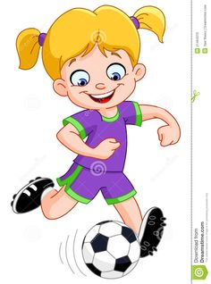 Illustration about Illustration of a young girl playing soccer. Illustration of jump, person, illustration - 21464310 Soccer Skills, Soccer Tips, Soccer Games, Play Soccer, Soccer Ball, Good Soccer Players, Football Players, Girl Playing Soccer, Sports Clips