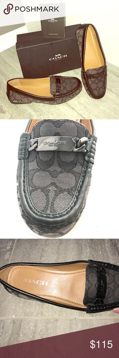 """COACH Black Smoke Sig C Jacquard Olive Loafers 7.5 100% Authentic COACH New York  Black-Smoke Signature C Jacquard Olive Loafers Size 7.5 AMAZING CONDITION- worn once outside (too big for me) No rips, stains or scraping-stayed in box on a shelf in the closet Comes with the authentic COACH box with booklet and wrapping paper There is minor fading of the letter """"C"""" inside the shoe On the bottoms the COACH symbol is clear and has no traces of being worn down No trades accepted PURCHASED IN A…"""