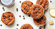 Banana muffins are a healthy alternative to highly-processed snacks like cupcakes made with sugar or high-fructose corn syrup. Healthy Banana Muffins, Banana Bread Muffins, Healthy Doughnuts, Homemade Doughnut Recipe, Banana Benefits, Cinnamon Recipes, Protein Shake Recipes, Semi Sweet Chocolate Chips, Muffin Recipes