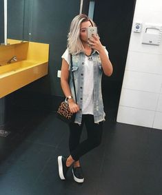 clothes for women,casual outfits,base layer clothing,casual outfits Lazy Day Outfits, Casual Summer Outfits, Cool Outfits, Fashion Outfits, Womens Fashion, Vest Outfits, Denim Outfit, Punk Fashion, Lolita Fashion