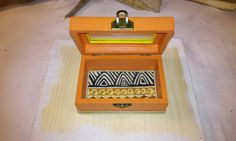 African box Ethnic box Orange box Small box Father's by Zozelarium Small Wooden Boxes, Small Boxes, Decoupage, Birthday Gifts, Ethnic, Decorative Boxes, African, Bronze, Handmade
