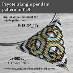 Peyote triangle patterns, pattern for triangle pendant, peyote patterns, beading, peyote stitch, digital file, pdf pattern #032P_Tr