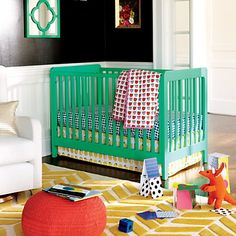 Carousel crib in Kelly green with farmers market crib bedding and yellow rug - so sweet for a little girl