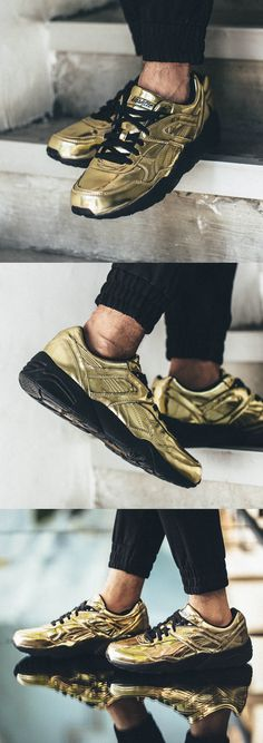 Check out the Puma x Vashtie R698 sneakers, with tonal leather, embossed nubuck upper and cushioned midsole.