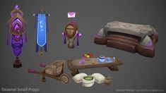 Draenei Small Props, Ashleigh Warner on ArtStation at http://www.artstation.com/artwork/draenei-small-props
