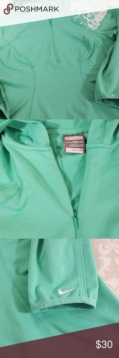 Nike Mint Green Nike Hoodie Size M Excellent condition Nike hoodie.  Light weight cotton.  Size M.  Very flattering/slimming cut.  Mint Green color with zipper neck and white detailing on one shoulder.   See photos for measurements.  Bundle your likes for a private offer or make an offer!  All reasonable offers accepted.  Thank you for shopping my closet!  :0) Nike Tops Sweatshirts & Hoodies