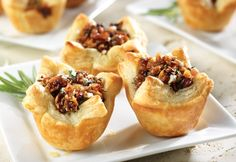Sweet honeyed figs, salty bacon and savory blue cheese combine to make a delectable filling for mini puff pastry tarts. These appetizers satisfy all of your cravings.