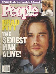 Brad Pitt on the cover of People Magazine Angelina Jolie, Jolie Pitt, Brad Pitt, Kennedy Jr, Pierce Brosnan, Richard Gere, Patrick Swayze, Mel Gibson, Sean Connery