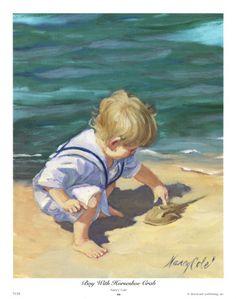 Boy With Horseshoe Crab  Art Print  by Nancy Cole