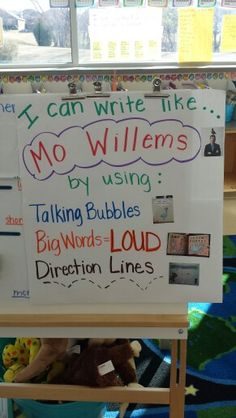 I Can Write Like Mo Willems (image only) Kindergarten Writing, Teaching Writing, Writing Activities, Sequencing Activities, Teaching Ideas, Writing Lessons, Library Lessons, Art Lessons, Writing Anchor Charts