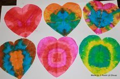 tie dye coffee filter heart art - these are gorgeous to display on windows