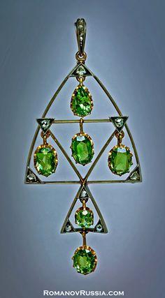 Demantoids - antique green demantoid garnet pendant