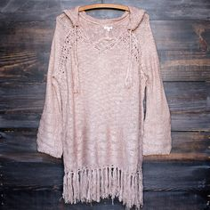dusty pink gypsy knit hoodie pullover