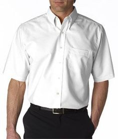 UltraClub Mens Classic Wrinkle-Free Short-Sleeve Oxford (White) (XLarge)
