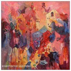 Fairyland with a Cat, acrylic on canvas 55x55cm Krzysztof Lozowski | eBay