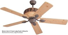 """Monte Carlo 52"""" Great Lodge Rustic Ceiling Fan looks like a slice of pine with bark and everything. The blades are held on by pine cone shaped metal. If a beaver designed a ceiling fan, this would be it. Perfect for my log cabin! Rustic Ceiling Fans - Brand Lighting Discount Lighting - Call Brand Lighting Sales 800-585-1285 to ask for your best price!"""