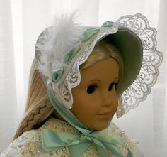 American Girl Doll Clothes - Doll Hat - 1800's Springtime Dress Hat - Seafoam