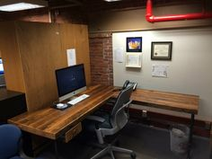 Recycled Wood office desk with steel pipe legs in choice of size, height, thickness and finish. Custom orders welcome L Shaped Office Desk, Wood Office Desk, The Menu, Custom Desk, Custom Tables, Reclaimed Wood Desk, Communal Table, Craft Desk, Cafe Tables