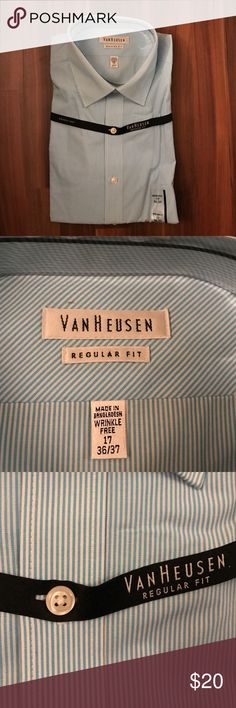 Van Heusen Dress Shirt Brand new never been worn. Wrinkle free/ regular fit. Perfect for work or casual nights out on the town. Goes with any suit or blazer and jeans. Sleeve length 36/37 Van Heusen Shirts Dress Shirts