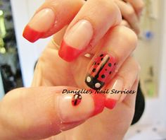 My May Ladybug Nails - supposed to be goodluck to have a ladybug land on you :)
