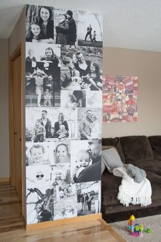 Use large scale peel and stick posters to create a modern photo wall. Collage Foto, Photo Wall Collage, Collage Frames, Stick Photo, Diy Photo, Photo Displays, Poster Wall, Kids Christmas, Decoration