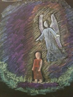 Abrahm and the Angel grade 3 Waldorf Chalkboard drawing