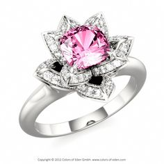 Designer Engagement Ring LOTUS BLOSSOM PETITE CUSHION #pink without the engagement please................