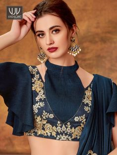 Grey and blue lehenga saree with designer blouse and cutwork floral border Choli Blouse Design, Choli Designs, Fancy Blouse Designs, Kurta Designs Women, Blouse Neck Designs, Sleeves Designs For Dresses, Stylish Blouse Design, Outfit Invierno, Lehenga Choli