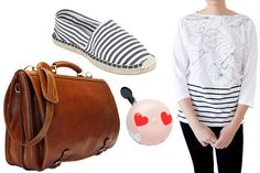 from left: Floto Piazza Italian Leather Messenger Bag, $348, available at Briefcase; BDG Printed Espadrille Flat, $20, available at Urban Outfitters; Sweetheart Ding Dong Bell, $19.99, available at Electra Bike; Karen Walker Boat Neck Bicycle Tee, $115, available at Creatures of Comfort.