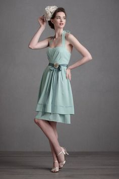 I chose this BHLDN dress for the bridesmaids because of its vintage style and its beautiful seafoam green color.