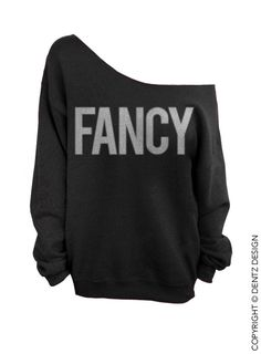FANCY - Black with Silver Ink - Slouchy Oversized Sweatshirt (This listing is for the *BLACK* sweatshirt only! Each color has its own listing!)