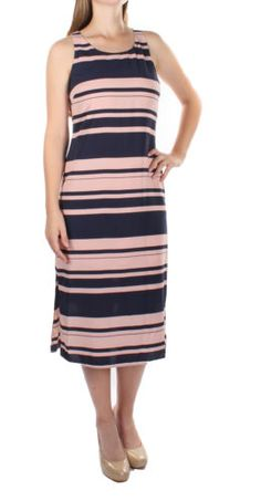 $80 NEW MAISON JULES Mid-Calf Pink Sleeveless Striped Shift Dress 1558 S BAB