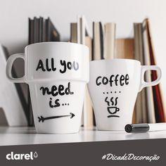 Personalize as chávenas do pequeno-almoço com mensagens especiais e surpreenda a sua família logo pela manhã. :)