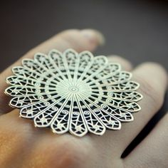 "Ring | BrillianceFound on Etsy.  ""Lacy Filigree"".  Silverplated Brass"