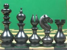 Antique Reproduced Stained Dyed Box Wood Calvert Chess Set. http://www.chessbazaar.com/chess-pieces/wooden-chess-pieces/antique-reproduced-boxwood-and-ebony-calvert-chess-set.html