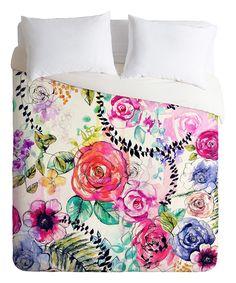 Pin & Green Rose Garden Mircofiber Fleece Duvet Cover