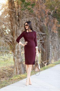 vince sheath #burgundy midi #dress, nude heels, handbag. Street #spring women fashion @roressclothes closet ideas