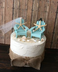 Something Blue Beach Wedding Cake Topper-miniature Adirondack Chairs-beach…