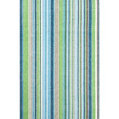 Go green (literally!) with this eco-friendly indoor/outdoor rug made of recycled polyester and featuring happy ticking stripes in shades of grass, evergreen, earth, and sky blue.   Fisher Ticking also available in  woven cotton.