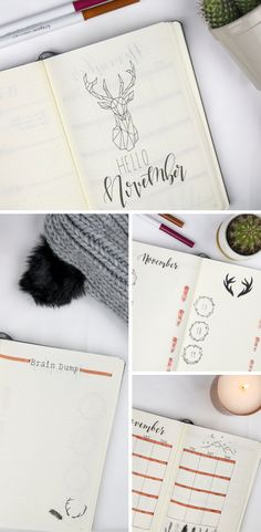Bullet Journal November Bujo winter forest / stag theme ideas