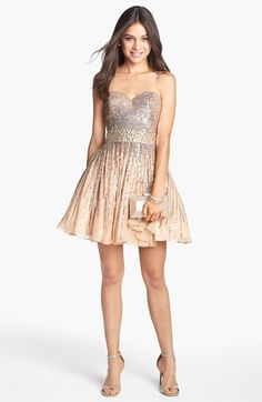 embellished strapless fit & flare dress