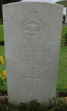 The Headstone of the most senior Officer in tge cemetery Air Vice Marshall G W M Pulford, who died of exhaustion and malaria along with his Naval Counterpart, he had been ordered to leave Singapore and was amongst the last to leave, his boat was shipwrecked. For information consult Wikepedia